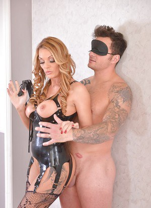Blonde mistress Stacey Saran tossing her male slave's salad