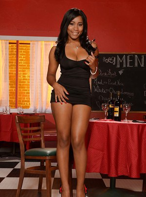 Ebony hottie Jenna J Foxx posing for sexy pics in short black dress