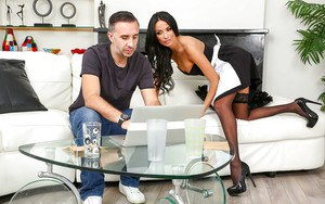 Gorgeous European maid Anissa Kate giving oral sex to a massive prick