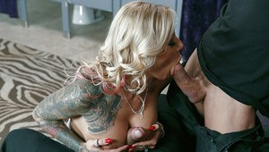 Busty and tattooed wife Britney Shannon gives husband and another man bjs