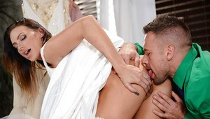 Inked bride Juelz Ventura takes an anal creampie on wedding night fuck