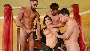 Brunette chick Romi Rain taking many cumshots on face in gangbang action