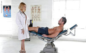 Blonde nurse Erica Foutos giving a muscular patient a blowjob