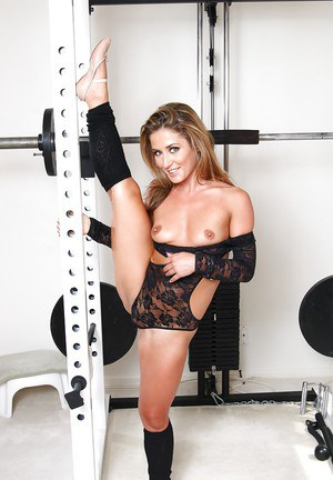 Flexible blond MILF Sheena Shaw working out in leg warmers and bodystocking