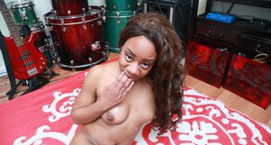 Ebony coed Nina dripping cum from mouth after delivering POV blowjob