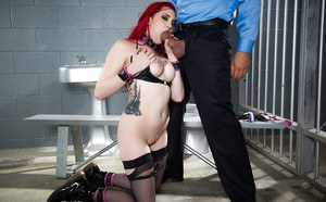 Redheaded slave girl is forced to suck thick cock before anal abuse
