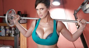 Chesty centerfold model Lana Kendrick working out in thong underwear