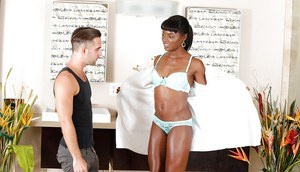 Ebony babe Ana Foxx gives white dude his first blowjob from a black ho