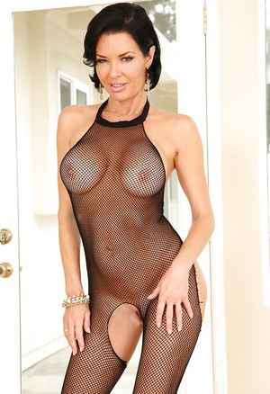 Leggy brunette pornstar Veronica Avluv strutting in crotchless bodysuit