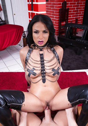 Hot chick in chaps and stockings Anissa Kate jacking cock with feet