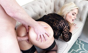 Blonde mom Alena Croft taking doggystyle fucking in black nylons