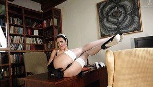 Leggy brunette maid Naomi Montana spreading pink pussy on employer's desk