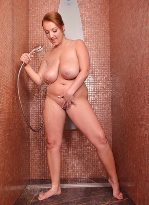 Chesty chubby chick Krystal Swift getting big knockers wet in shower