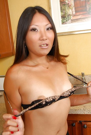 Close ups of glasses adorned Asian first timer Miki flashing underwear