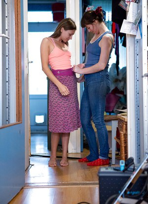 Real life dykes Bille T and Ivanna getting dressed after lesbian sex