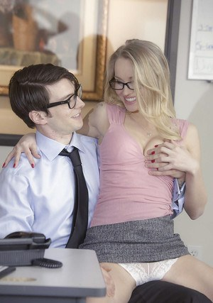 Blonde secretary Staci Carr seduces nerdy coworker for sex in office