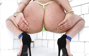 Big booty model Abella Danger showing off nice thong attired ass outside
