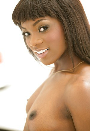 Beautiful ebony amateur Ana Foxxx striking hot poses in lingerie