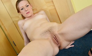 Petite redhead mature woman Mischelle spreading butt cheeks and gaped anus