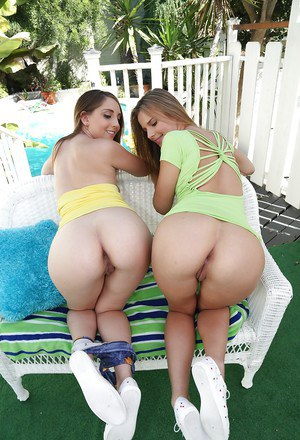 Teen chicks Nickey Huntsman and Jillian Janson show off big butts outdoors