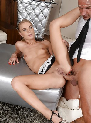 Petite blonde maid Kattie Gross parks her puffy clean shaved cunt on cock