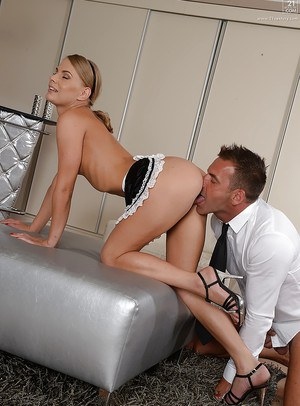 Sexy blonde European maid Katie having smooth shaven pussy ate out