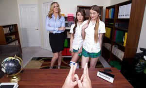 Lesbian schoolgirls and their blonde teacher suck principal's huge cock