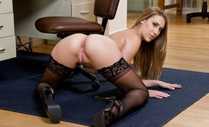 Blonde office worker Kimber Lee strips naked for nude photos at work