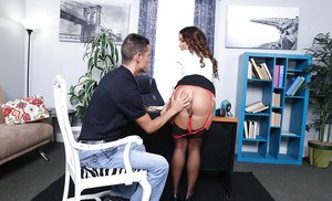 Pornstar Mila Marx giving and receiving oral sex in office