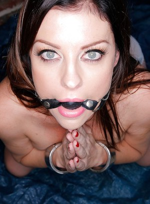 Brunette chick Sovereign Syre is used and abused with ball gag in mouth