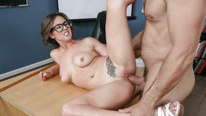 Nerdy schoolgirl Alice Lighthouse and her natural tits ride teacher's cock