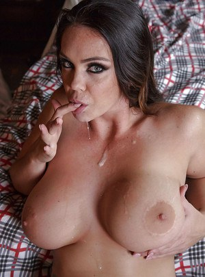 Brunette pornstar Alison Tyler sucks off thick cock for cum swallowing