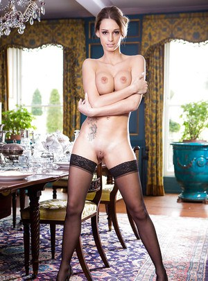 Hot Euro maid Erica Footes flashes thigh and garters before stripping nude