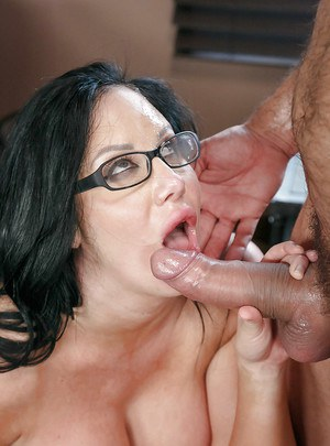 Chesty office worker Sybil Stallone tit fucking dick at work