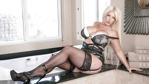 Chunky blonde mom Alura Jenson posing for lingerie photo shoot