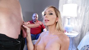 Busty blonde pornstar wife Destiny Dixon sucks cock while hubby watches