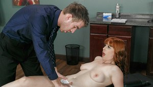 Redhead patient Penny Pax takes big cumshot in mouth from her doctor