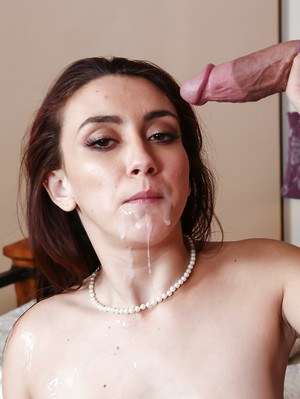 Brunette sweetie Mandy Muse taking facial cumshot after ass fucking