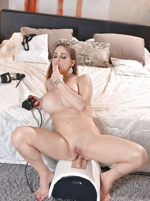 Beautiful MILF Cathy Heaven using Sybian sex toy to penetrate asshole