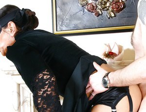 Blindfolded UK fetish model Lady Sarah taking doggystyle dick