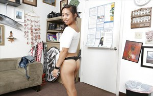 Cute Asian first timer Lucy Li showing off toned thong clad ass cheeks