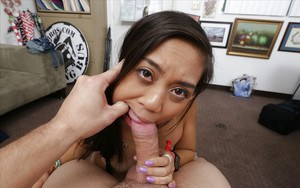 Young Asian Lucy Li getting face fucked by white dick during rough sex