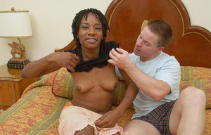 Aged black woman Cat having sex with a much younger white boy
