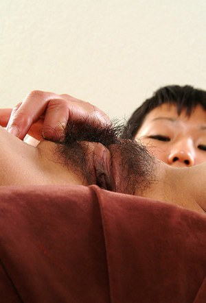 Petite Asian amateur Vicky showing off furry underarms and beaver