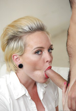Young blonde raver Miley May jacking cock and taking cumshot on tongue