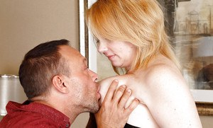 Older chubby Brandie Sweet tit fucking and blowing long cock