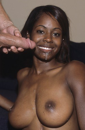 Black MILF Kiwi dripping cum from mouth after blowing white cock