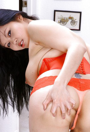 Exotic Oriental first timer Ayane letting big natural boobs fall loose