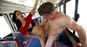 Brunette hottie Karmen Bella getting fucked doggystyle on public bus
