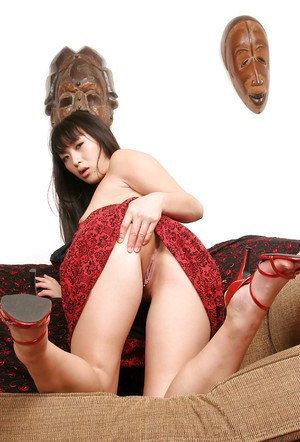 Asian first timer Lena flashing lace upskirt underwear on couch